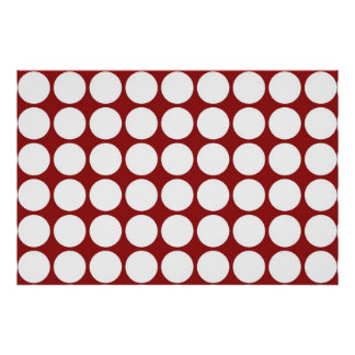 White Polka Dots on Red Poster