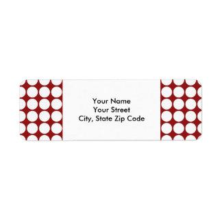 White Polka Dots on Red return address label