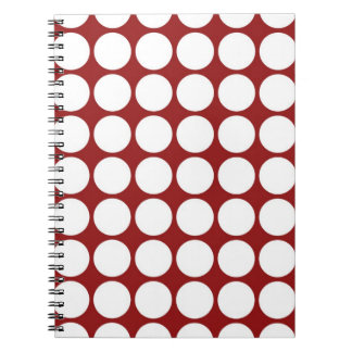 White Polka Dots on Red Spiral Notebook
