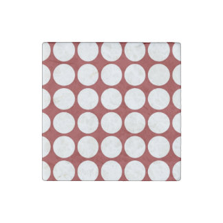 White Polka Dots on Red Stone Magnet