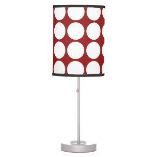 White Polka Dots on Red Table Lamp