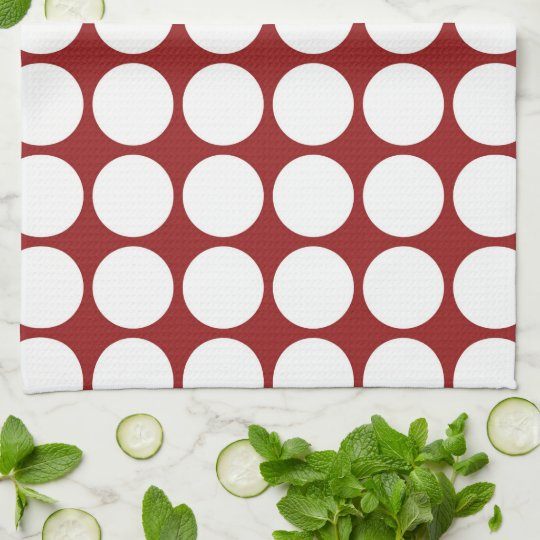 White Polka Dots on Red Towel