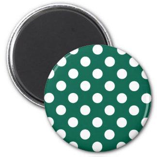 White polka dots on sage green 2 inch round magnet