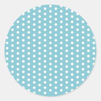White Polka Dots on Seafoam Green Pattern Gifts Classic Round Sticker