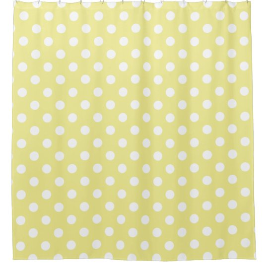 White Polka Dots on Sweet Butter Yellow Shower Curtain | Zazzle.com