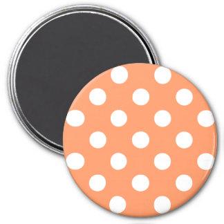 White Polka Dots on Tangerine Orange 3 Inch Round Magnet