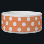 "White Polka Dots on Tangerine Orange Bowl<br><div class=""desc"">White polka dots on tangerine orange background