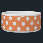 "White Polka Dots on Tangerine Orange Bowl<br><div class=""desc"">White polka dots on tangerine orange background White circles patterns pastel orange background  pale orange background with white dots white circles on tangerine orange background</div>"