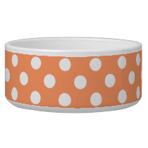 White Polka Dots on Tangerine Orange Bowl