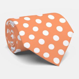 White Polka Dots on Tangerine Orange Tie