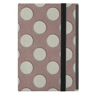 White Polka Dots on Taupe Leather Print Cover For iPad Mini