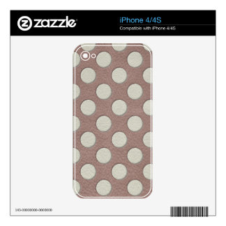 White Polka Dots on Taupe Leather Print iPhone 4 Decal