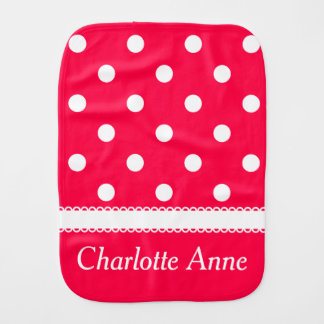 White Polka Dots on Tropical Flower Personalized Baby Burp Cloth