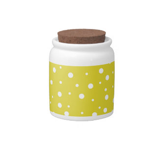 White Polka Dots on Yellow Candy Jar
