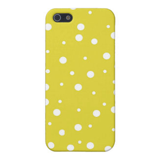White Polka Dots on Yellow Cases For iPhone 5