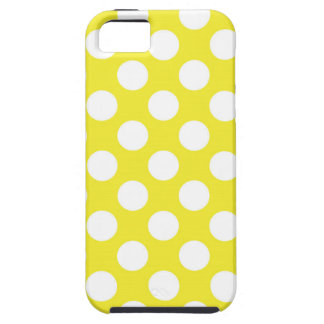 White Polka Dots on Yellow iPhone SE/5/5s Case