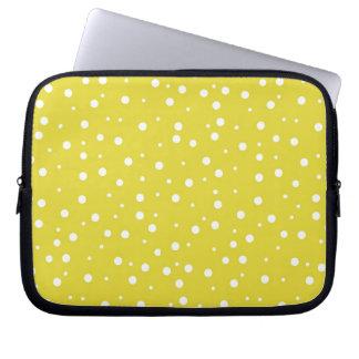 White Polka Dots on Yellow Laptop Sleeves