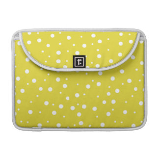 White Polka Dots on Yellow Sleeve For MacBook Pro