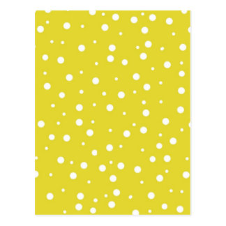 White Polka Dots on Yellow Postcard