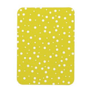 White Polka Dots on Yellow Rectangular Magnets