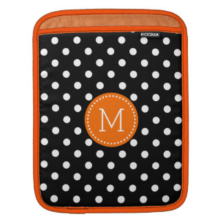 White Polka Dots Pattern Black Background Sleeves For iPads