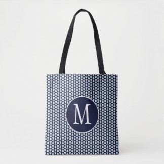 White Polka Dots Pattern On Navy Blue And Initial Tote Bag