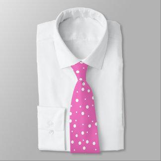 White Polka Dots Pink Background Tie