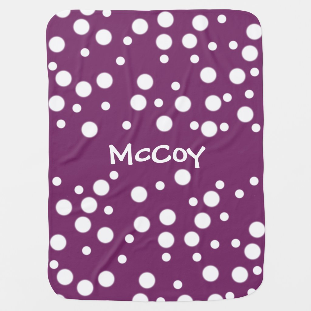 White Polka Dots Purple Personalized Baby Blankets