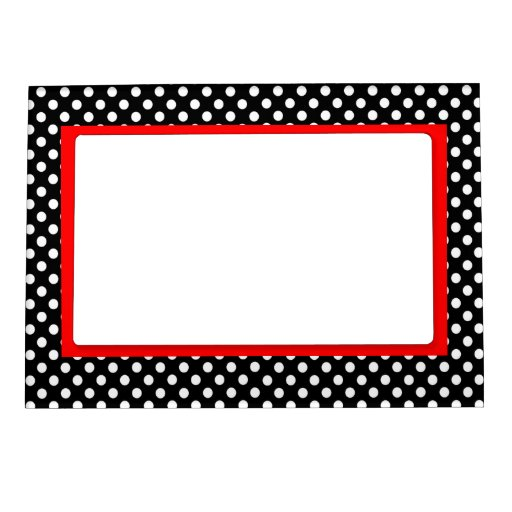 White Polka Dots- Red Accent Frame Magnet