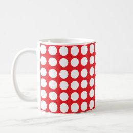 Red White Polka Dots Background Coffee & Travel Mugs | Zazzle