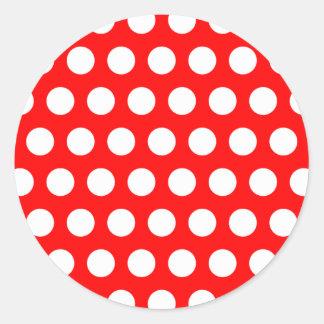 White Polka Dots Classic Round Sticker