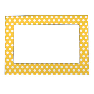 White Polka Dots with Yellow Background Magnetic Frame