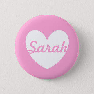 White polka hearts on Cotton Candy Pink Button