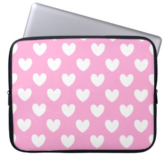 White polka hearts on Cotton Candy Pink Laptop Sleeve