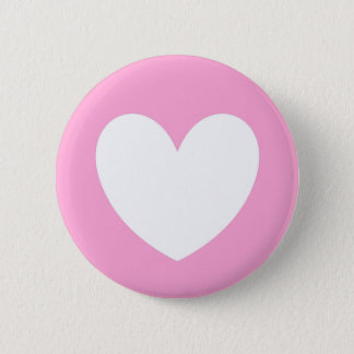 White polka hearts on Cotton Candy Pink Pinback Button