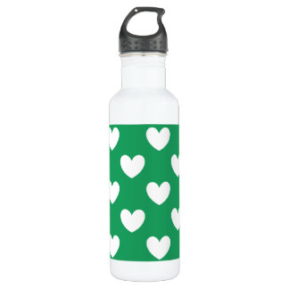 White polka hearts on Kelly green Stainless Steel Water Bottle