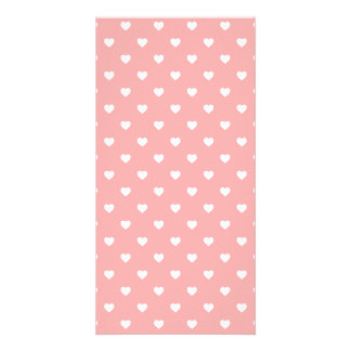 White Polkadot Hearts on Blush Pink Photo Greeting Card