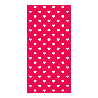 White Polkadot Hearts on Lipstick Pink Custom Photo Card