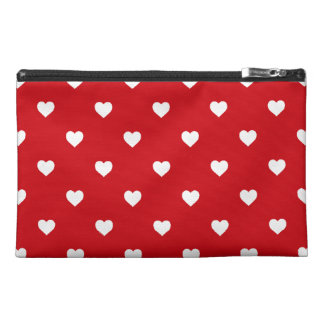 White Polkadot Hearts On Lipstick Red Travel Accessory Bags