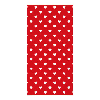 White Polkadot Hearts On Lipstick Red Photo Card Template
