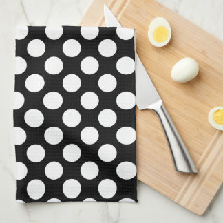 White Polkadot over Black Background Kitchen Towel