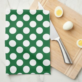 White Polkadot over Green Background