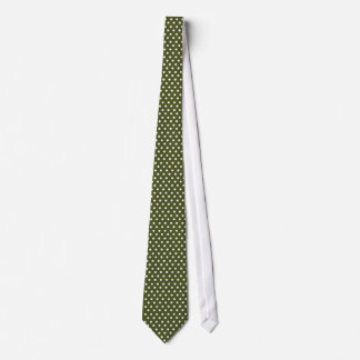 White Polkadots Army Green Tie Cheap & Elegant