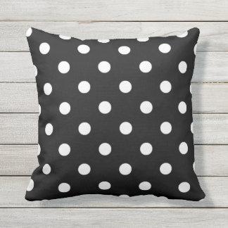 White Polkadots Pattern On Black Outdoor Pillow
