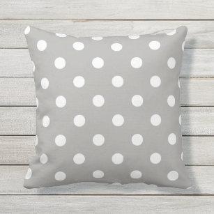 White on Grey Polka Dot with Minky center 12x16 Throw Pillow
