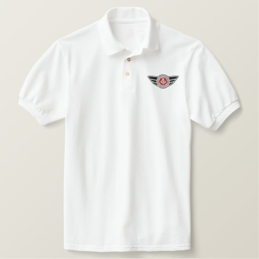 White polo shirt with red MCR logo