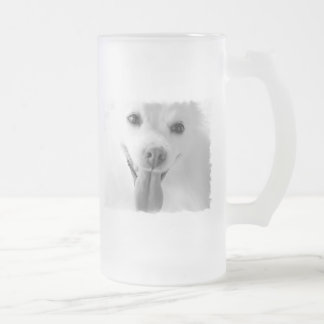 White Pomeranian Frosted Beer Mug