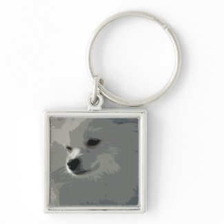 White Pomeranian Keychain keychain