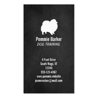 White Pomeranian Silhouette - Chalkboard Style Double-Sided Standard Business Cards (Pack Of 100)