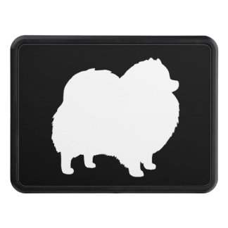 White Pomeranian Silhouette Tow Hitch Cover